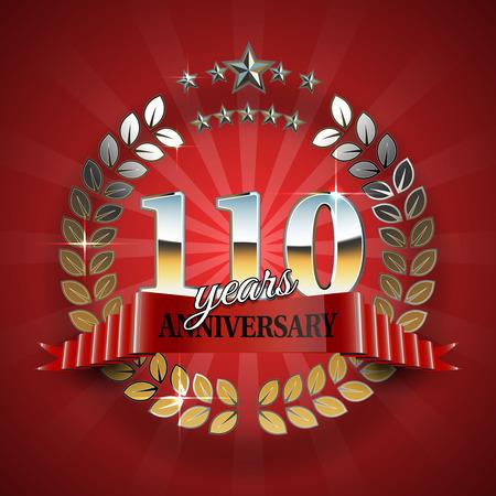 Insignia de oro de celebración para el aniversario número 110 con la cinta roja