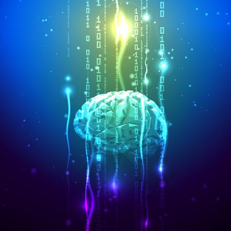 추상 삼각형 브레인에서 누출되는 이진 자릿수의 흐름. 주식 벡터 일러스트 레이 션. 인간의 두뇌 활동의 추상적 개념 일러스트