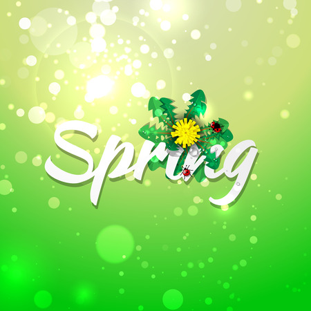dandelion abstract: Green abstract background and spring decoration with dandelion and ladybirds . Vector illustration