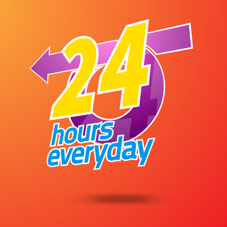 car care center: 24 hours service. 24 hours emergency everyday. 24 hours emergency service. Vector illustration.