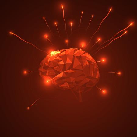 추상 인간의 두뇌입니다. 광선 입자를 방출 삼각형 뇌입니다. 인간의 두뇌 활동의 추상 개념입니다. 일러스트