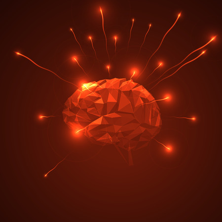 outflow: Abstract human brain.  Triangle brain with releasing glow particles. Abstract concept of human brain activity.