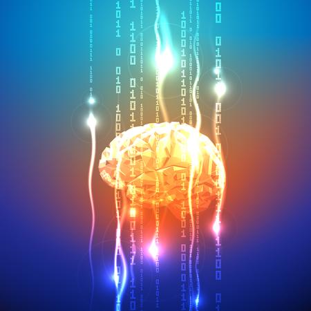 Stroom van binaire cijfers Lekkage bij de Abstract driehoekig Brain. Abstract Concept van Human Brain Activity