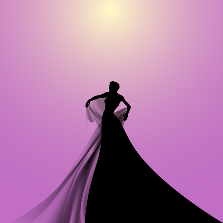 conservatory: Silhouette of Woman Singer. Illustration. Illustration