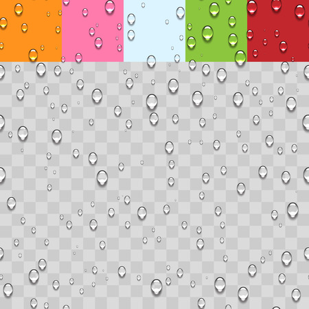 condensación: Gotas de agua transparente sin fisuras de fondo. Vectores