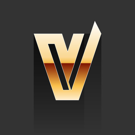 v shape: Gold Letter V Shape Element on Dark Background
