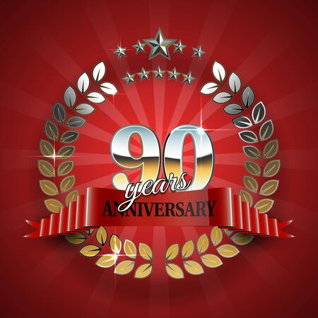 90th: Celebrative Golden Frame for 90th Anniversary with Red Ribbon