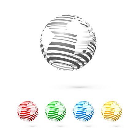 Set van bollen. Globe logo zakelijke pictogram. Vector globe icons. Wereldkaart oppervlak