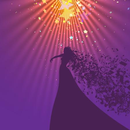 singer silhouette: Silhouette of Opera Singer with Hair Like Musical Symbols. Opera  Vector Illustration. Opera Singer Silhouette on White Background. Illustration