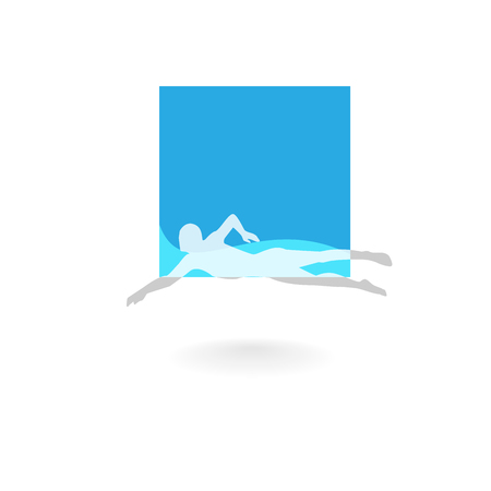 Swimming Logo Design Element. Swimming Pool Sign. Swimmer in Waves. Иллюстрация