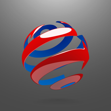 globe logo: Abstract Globe Logo Element. Rotating Arrows. Vector Symbol of Globalization. 3D Look. Globe with Reflections Illustration