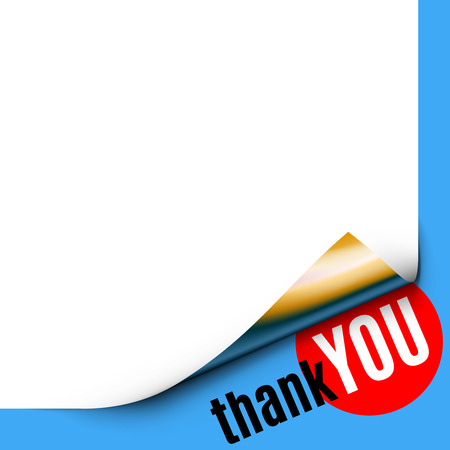 decency: Curled White Paper Corner on Blue Background with Message. Vote of Thanks. Thank you text beneath Curled Paper Corner with Gold Back Side. Rolled Paper Corner. Illustration