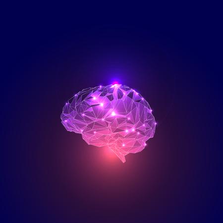 Driehoekige polygonen Human Brain. Human Brain Illustratie. Low Poly menselijk brein. Abstract symbool van wijsheid met Lichten. Concept van de Active Human Brain. Illustratie