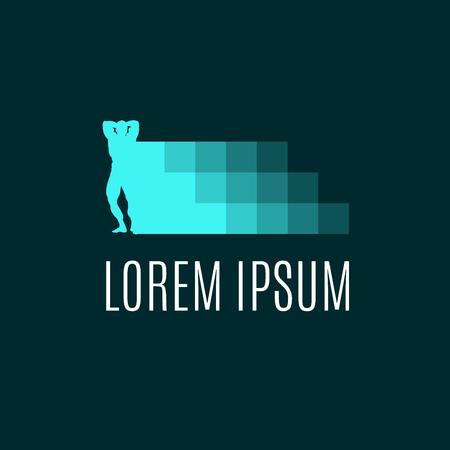 sportsman: Sport, bodybuilding, fitness, lifestyle element with digital pixel design. Sportsman in pose Illustration