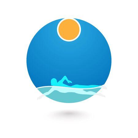 El nadador elemento de diseño. Ilustración del icono del nadador. muestra de la natación en la piscina. Nadador en vawe. Natación icono. ilustración Foto de archivo - 59591258