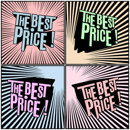 bomb price: Best Price, wording in shaded comics background. Sale banner. Comics design sale discount promotion. Comics pop art style. Illustration