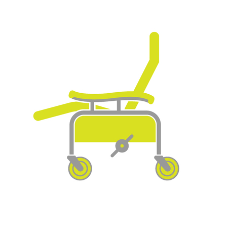 seating: Flat Icon of Surgical Chair Isolated on White Background. Surgery Chair. Medical Equipment for Seating and Transport. Illustration Illustration