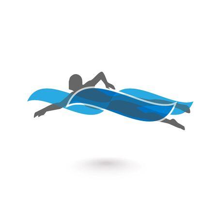 El nadador elemento de diseño. Ilustración del icono del nadador. Vector muestra de la natación en la piscina. Nadador en vawe. Natación icono. ilustración vectorial Foto de archivo - 61460944