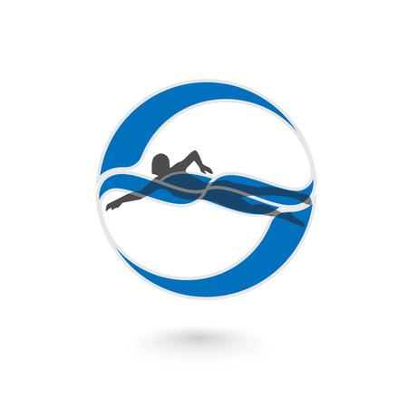El nadador elemento de diseño. Ilustración del icono del nadador. Vector muestra de la natación en la piscina. Nadador en vawe. Natación icono. ilustración vectorial Foto de archivo - 61460946