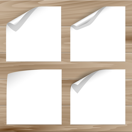 curled corner: Vector collection of paper sheets with curled corner on wooden planks background. For paper page design with curled corner, document design, web graphic, banner, flyer design with curled corner.