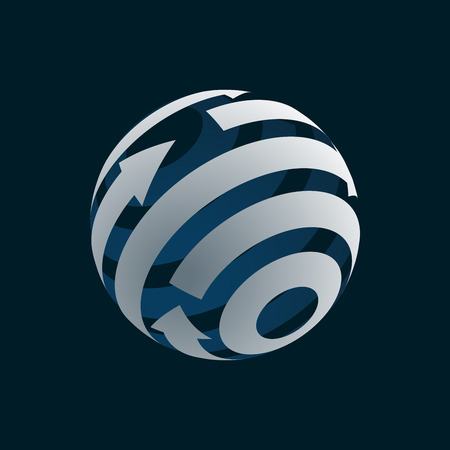 globalization: Abstract Globe Element. Rotating Arrows. Vector Symbol of Globalization. 3D Design. Rotating Globe. Vector Illustration Illustration