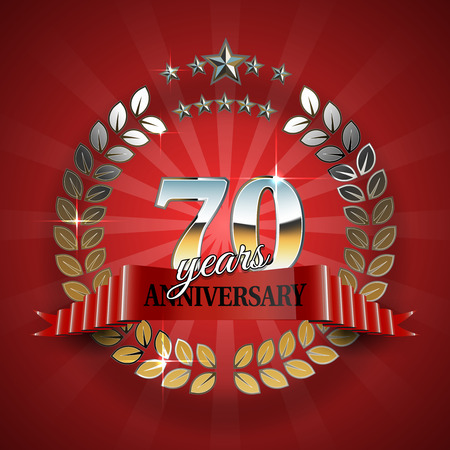 wedding parade: Celebrative Golden Frame for 70th Anniversary. Anniversary Ring with Red Ribbon. Anniversary Festive Celebration Emblem. Vector Illustration for Anniversary Celebration Design Illustration