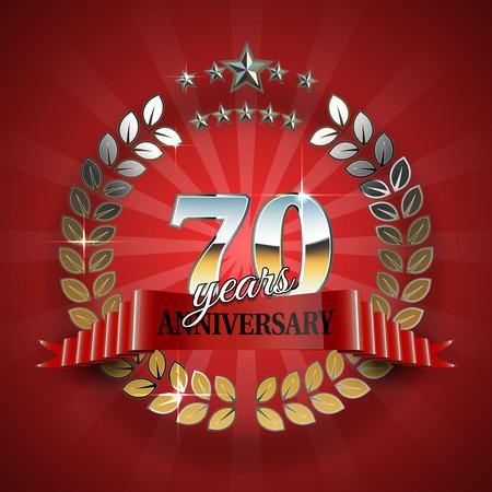 Celebrative Golden Frame for 70th Anniversary. Anniversary Ring with Red Ribbon. Anniversary Festive Celebration Emblem. Vector Illustration for Anniversary Celebration Design Illustration