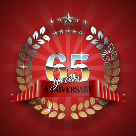 wedding parade: Celebrative Golden Frame for 65th Anniversary. Anniversary Ring with Red Ribbon. Anniversary Festive Celebration Emblem. Vector Illustration for Anniversary Celebration Design Illustration