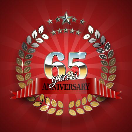 65th: Celebrative Golden Frame for 65th Anniversary. Anniversary Ring with Red Ribbon. Anniversary Festive Celebration Emblem. Vector Illustration for Anniversary Celebration Design Illustration