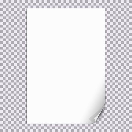 Gekruld papier Corner A4-formaat met een transparante achtergrond. Voor shet van papier pagina ontwerp met gekrulde hoek, document ontwerp met gekrulde hoek, web grafisch met gekrulde hoek, banner, flyer design. Stock Illustratie
