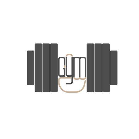 hand with dumbbell: Dumbbell in hand  element. Gym inscription built into the clenched fist. Vector illustration