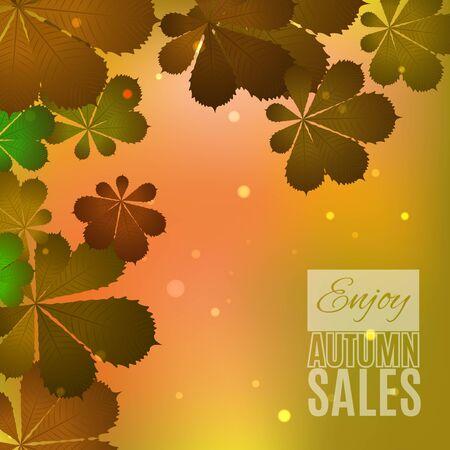 fallen leaves: Fall sale design. Enjoy autumn sales banner. Autumn leaves. Fallen leaves background for autumn sales media. Vector illustration