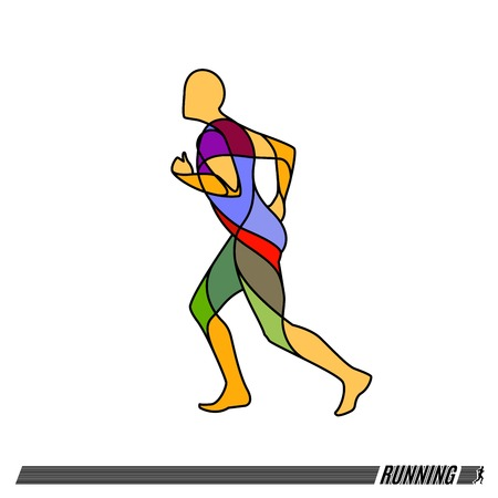 jog: Vector illustration of running man colorful icon.