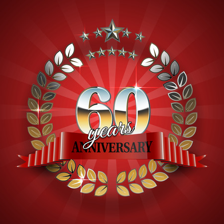 60th: 60th anniversary frame in the golden form of laurel branches. Frame for 60th anniversary. Anniversary ring with red ribbon. Anniversary festive celebration emblem. Vector illustration Illustration