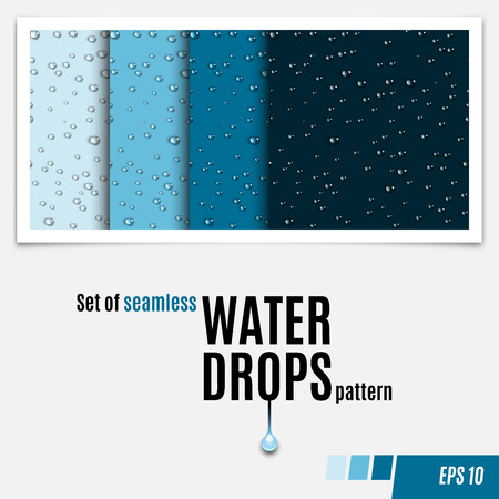 물 투명 한 세트 원활한 패턴을 설정합니다. 비가 상품. 응축 된 물 배경입니다. 표면에 물방울이 흩어집니다. 물 완벽 한 배경을 삭제합니다. 벡터 일