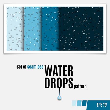 Set van water transparante druppels naadloos patroon. Regendruppels. Condenswater achtergrond. Waterdruppels verspreid over het oppervlak. Water druppels naadloze achtergrond. vector illustratie