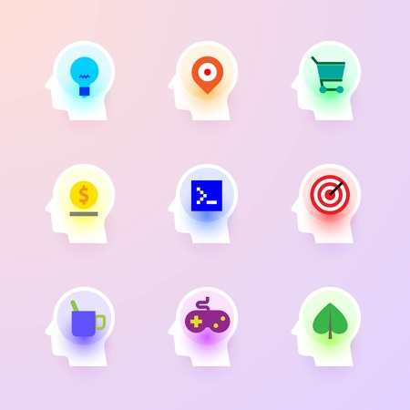 Modern vector flat icons collection of idea, maps, shopping, bank, programming, targeting, break, game, ecology at icon of human head brain. Backlit icons pure style Illustration