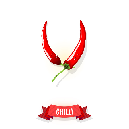 Extra spicy chili pepper and comic shaded ribbon banner isolated on white background. Vector illustration.