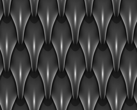 Black dragon scales seamless background. Dragon scale seamless pattern. Fantasy dragon texture. Vector illustration