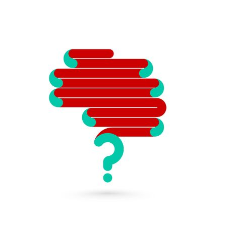 enigma: Creative abstract line concept of the human brain with question mark symbol. Vector illustration