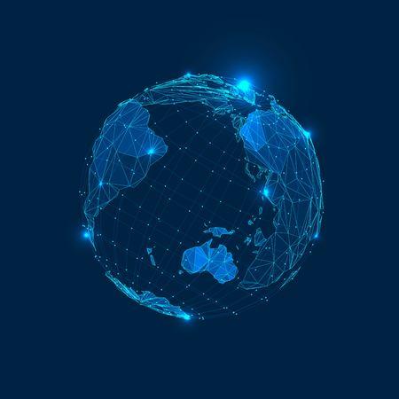 Abstracte driehoeken Planeet Aarde in de ruimte. Vector Low Poly Illustration