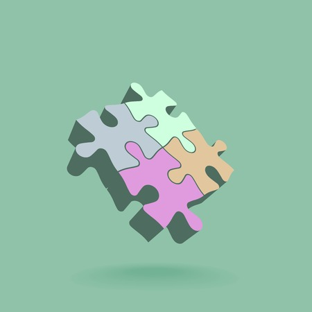 Abstract 3D puzzle design element. Vector illustration Illustration