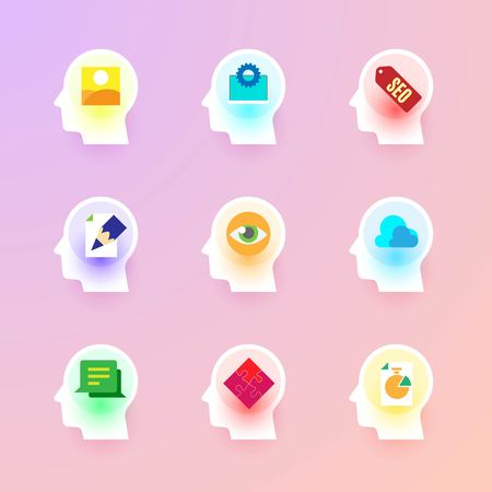 copywriting: Modern vector flat icons collection of photo gallery, web development, seo, copywriting, visual identity, data cloud, customer testimonial, solution, graph on human head brain.