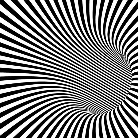 wormhole: Black and White Striped Abstract Tunnel. Vector Illustration