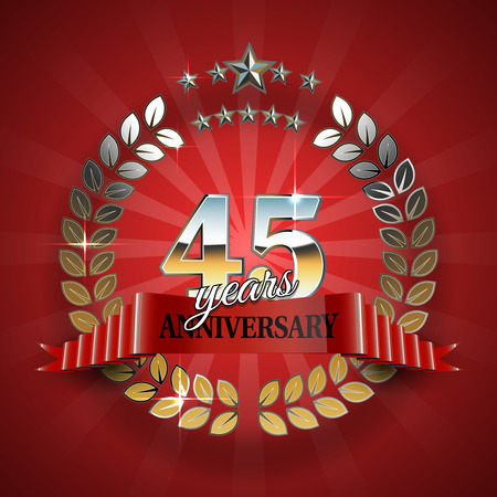 45th: 45th anniversary frame in the golden form of laurel branches. Frame for 50th anniversary. Anniversary ring with red ribbon. Anniversary festive celebration emblem. Vector illustration