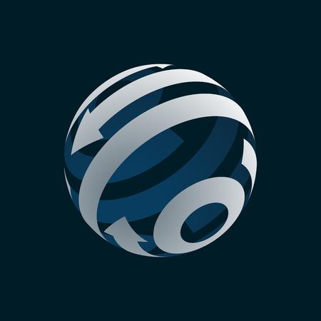 globalization: Abstract Globe  Element. Rotating Arrows. Vector Symbol of Globalization. 3D Design. Rotating Globe. Vector Illustration