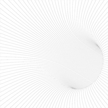 wormhole: Black and White Line Striped Abstract Tunnel. Vector Illustration