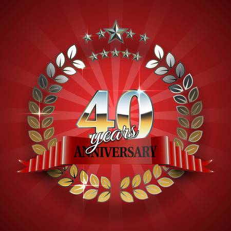 40th anniversary frame in the golden form of laurel branches. Frame for 40th anniversary. Anniversary ring with red ribbon. Anniversary festive celebration emblem. Vector illustration Illustration