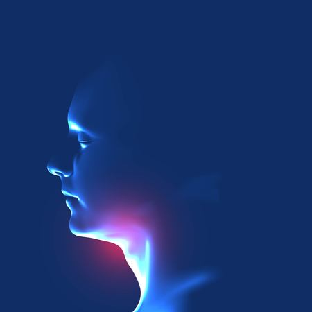 Human head with inflammation of the throat. Sore throat. Vector illustration