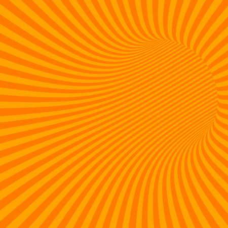 wormhole: Orange Striped Abstract Hypnotic Tunnel. Vector Illustration
